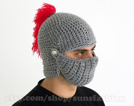 Crochet Mens Hat : crochet boyfriend gift mens gift Knight Helmet Hat mens winter Red Hat ...