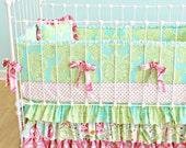 Custom Ruffle Crib Bedding - Whimsical Garden Design