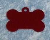 Bone shaped dog tag, red anodized aluminum, FREE custom engraving