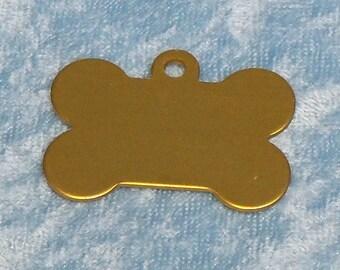 Bone shaped dog tag, gold anodized aluminum, FREE custom engraving