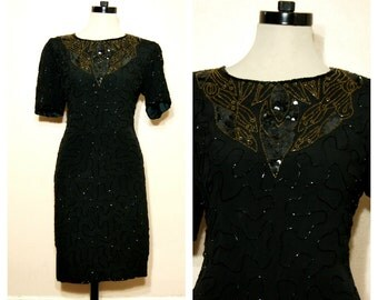 80s Black Sequin Dress Medium Gold Sequins Silk Flapper Dress NWT Beaded Party Glam Formal