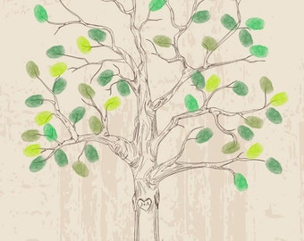 Wedding Tree Guest Book Poster Hand drawn Rustic Wedding Guestbook Fingerprint Tree Guest book alternative Hand sketched Wedding Tree Print