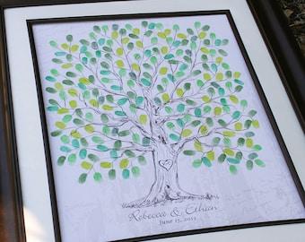 Fingerprint Wedding Tree Thumbprint Wedding Guest Book Tree Unique Guest book alternative Vintage Wedding Tree Unique Custom Wedding Gift