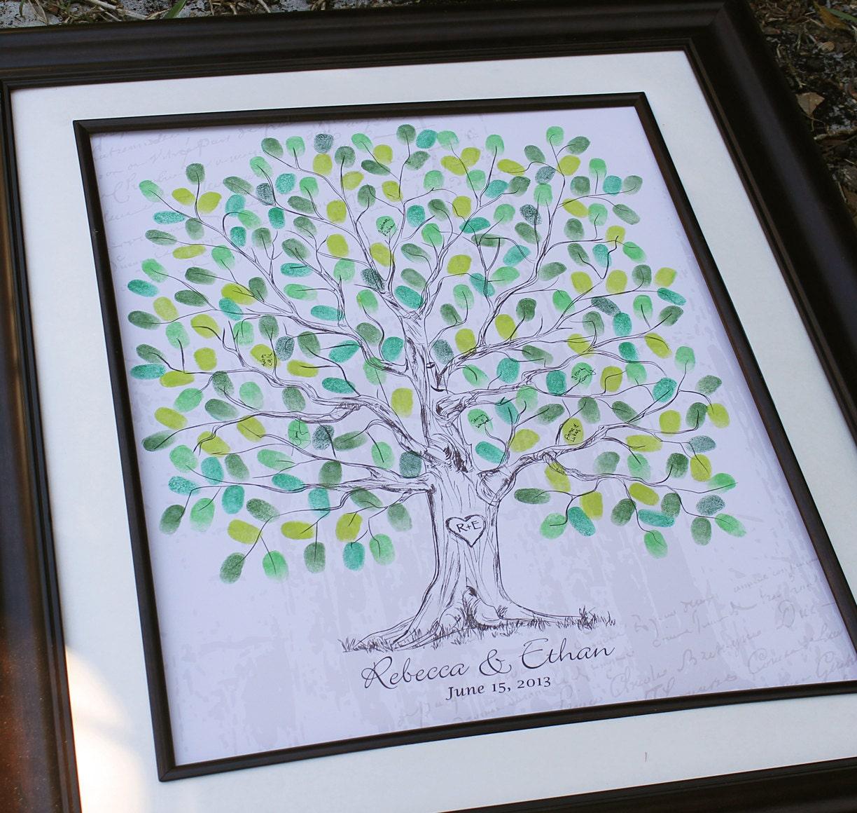 Custom Wedding Accessories Hand Drawn Fingerprint Wedding Tree