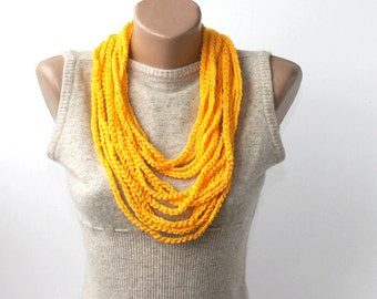 Yellow crochet necklace skinny scarf necklace crochet scarf infinity scarf  summer scarves for women fashion accessories gift ideas for her