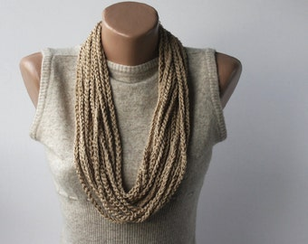 Skinny Scarf Necklace - vegan scarf - infinity scarf - neutral oatmeal beige - crochet necklace