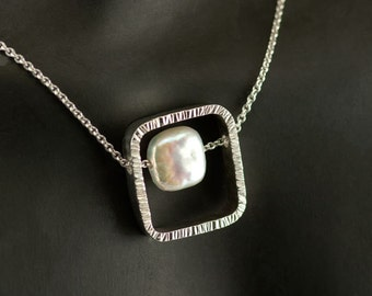 Silver Pearl Pendant Fresh Water Pearl soft square Textured Necklace