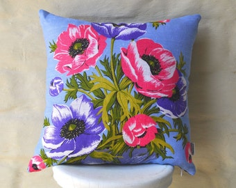 BLUE POPPIES Vintage Irish  Linen Tea Towel Cushion Cover Upcycled Repurposed Spring Flowers Pillow Cushion
