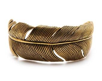 Gold Feather Bracelet Bangles Polished Brass Cuff Womens Jewelry
