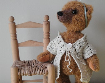 Lucy, girly traditional artist teddy bear with beige sweater