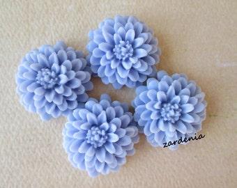 4PCS  - Resin - Mum Flower Cabochons - 20mm - Lavender