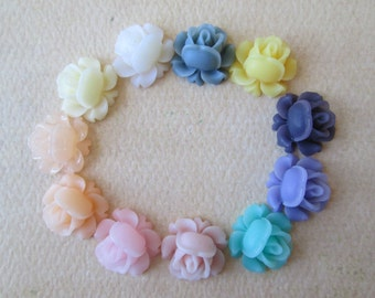 11PCS - Mini Cabbage Rose Flower Cabochons - 12mm - Resin - Mixed Sampler Pack