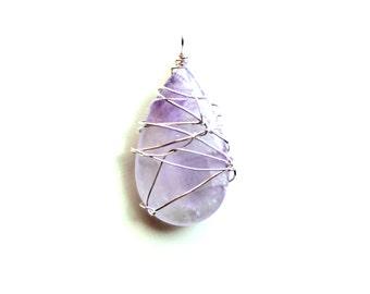 feminine pendant. clear gemstone. Sterling wrapped FREE domestic SHIPPING purplish hue mystery garden teardrop stone key fob ornament