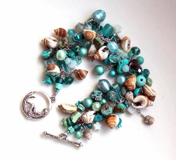 nautical poem / anklet or BRACELET / wedding beach bridesmaid favor / turquoise gemstones / nutmeg SEASHELLS / beaded handmade