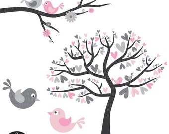 Love Birds in Grey and Pink - Digital Clip Art