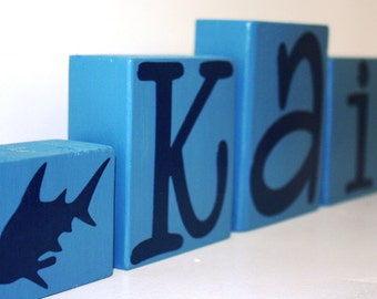 Personalized Shark Ocean Name Letter Sign - Nautical Shipwreck Nursery Blocks - Baby Shower Gift Centerpiece - Custom Boy Bedroom Decor