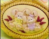 Price Includes Shipping ~ Dona Inserts Bunnies Sitting in Coveralls Wall Plaque Ceramics Poured by JC