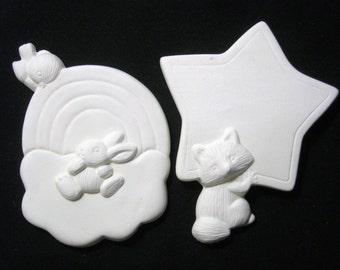 Animal Fun w/ Rainbow and Star Magnet Flats or Add Ons Ceramics Ready to Paint Price includes Shipping