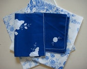 Ralph Lauren cotton Dauphine Cobalt fabric and vintage blue and white applique linens