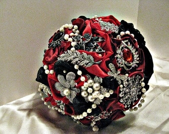 custom  Brooch Bouquet in Red,black brooch wedding bouquet , bridal wedding brooch bouquet