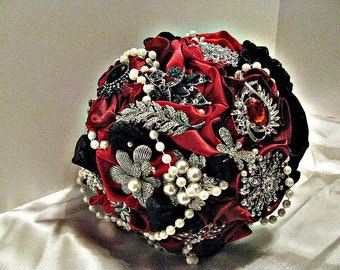 Red,black brooch wedding bouquet  brooch bridal bouquet, bridal wedding brooch bouquet