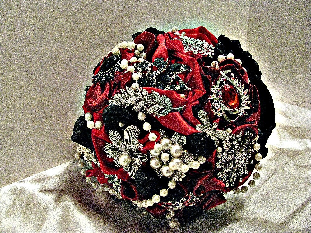 red and black wedding bouquets redblack brooch wedding bouquet brooch bridal bouquet 6990