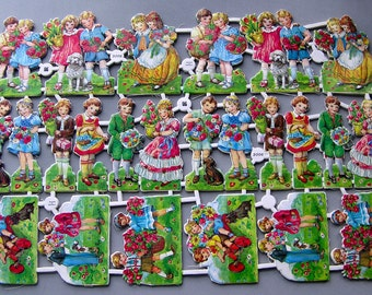 Vintage  Die-Cuts Children Dogs Flowers German Made Charming 24 Pieces on Each Sheet Quantity Available