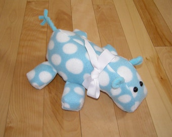 Blue polka dot fleece hippo stuffed animal