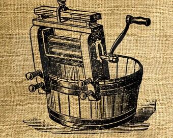 INSTANT DOWNLOAD Vintage Laundry Wringer Illustration - Download and Print - Digital Sheet by Room29 - Sheet no. 774