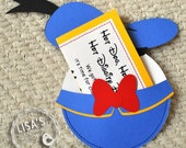 RESERVED for Lidice- Custom Donald Duck Birthday Invitations Handmade by Lisa