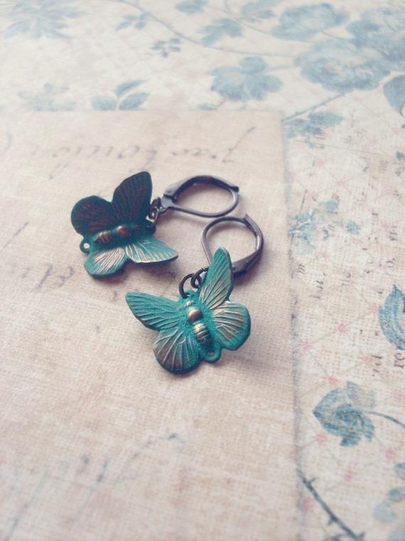 Green Butterfly Earrings Butterfly Charm Earrings Butterfly Jewelry Verdigris Earrings Woodland Earrings Nature Earrings Woodland Summer