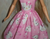"""Handmade 11.5"""" Fashion doll clothes - pink and white hello kitty dress"""