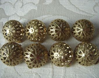 Destash Lot of 4 Goldtone Domed Filigree Earrings