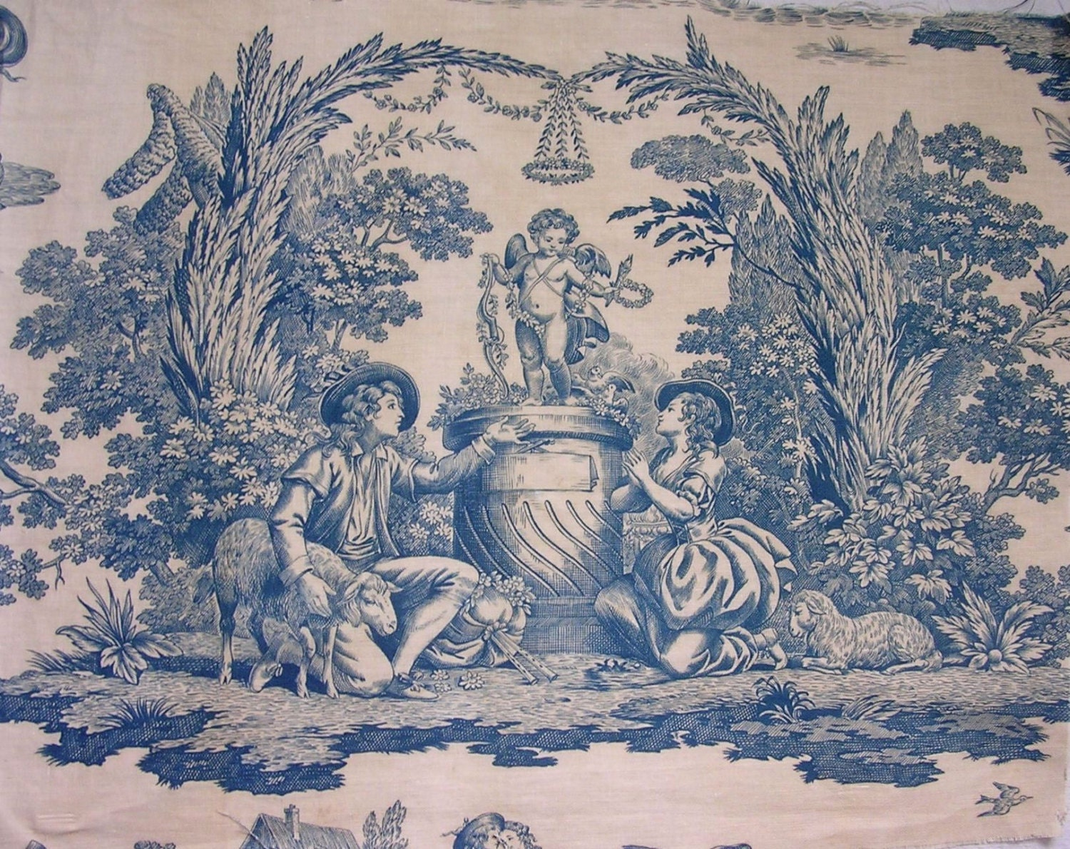 Antique french fabric toile de jouy 19th century blue by for French toile fabric