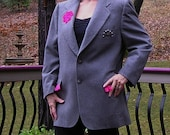Recycled, Upcycled Mens Suit Jacket for Women, Grey with Pink Trim, Large to XLarge, Repurposed Clothing