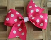 """Girls Hot Pink & White Polka Dot Pinwheel Hair Bow 1.5"""" Grosgrain Ribbon"""
