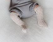 KNIT BABY SOCKS Linen lace socks in beige light brown Baby shower gift Baptism accessory