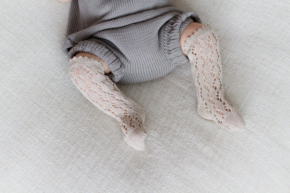 KNIT BABY SOCKS Linen lace socks in beige light brown Baby