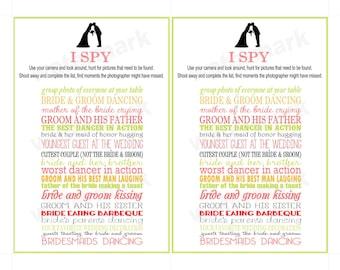 Wedding I SPY Card - Fun Activity for Wedding Reception-PRINTABLE