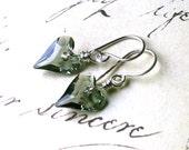Black Diamond Wild Heart Swarovski Crystal Earrings - Grey Hearts - Handmade with Sterling Silver and Swarovski Crystal - Free Shipping