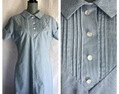 1960s seamed western pintuck dress M L with peter pan collar