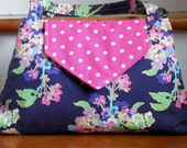 "The ""Sarah"" Shoulder Bag in Navy Floral and Hot Pink With Dots"
