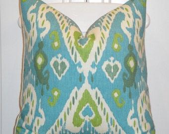 DOUBLE SIDED - Decorative Pillow Cover - Aqua blue - Leaf Green - IKAT