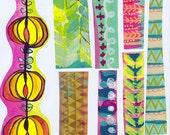 border stripes art journal collage sheet