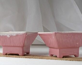 2 Vintage Planters, Pink Pottery Planter Set of 2, Pink Planter, Shabby Planter