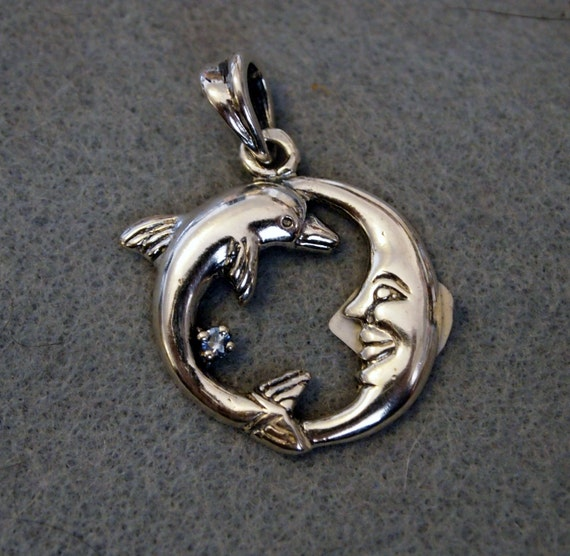 Dolphin and Moon Pendant in Sterling Silver with Birthstone