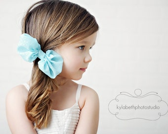 LAST ONE-the Sophia- pale blue/aqua chiffon fabric bow on skinny elastic headband, hair accessory, custom-sized