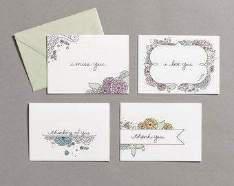 You - Variety Pack / I Love You / I Miss You / Thinking of You / Thank You / Hand Drawn & Lettered / Cards for Her / Cards for Mom / Blank