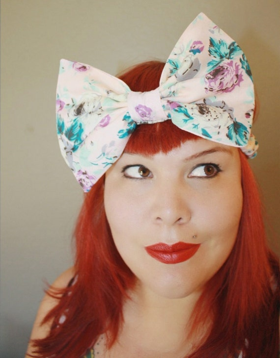 SALE!!! Big Bow, Stretchy Headband, Pink Floral, Spring Pastels