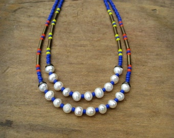 Colorful Beaded Bohemian Necklace with freshwater pearls, royal blue seed beads, and choice of yellow or orange accents